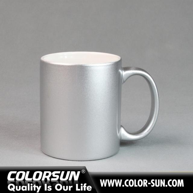 908bdda0236 sublimation coated porcelain silver color pearlite mugs