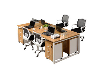 modern commercial office furniture 3 person workstation with under