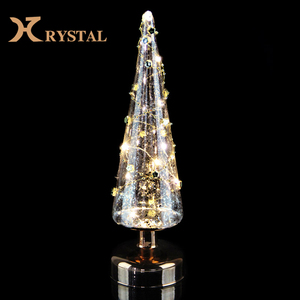 Led Light Crystal Acrylic Artificial Christmas Tree With Small Star