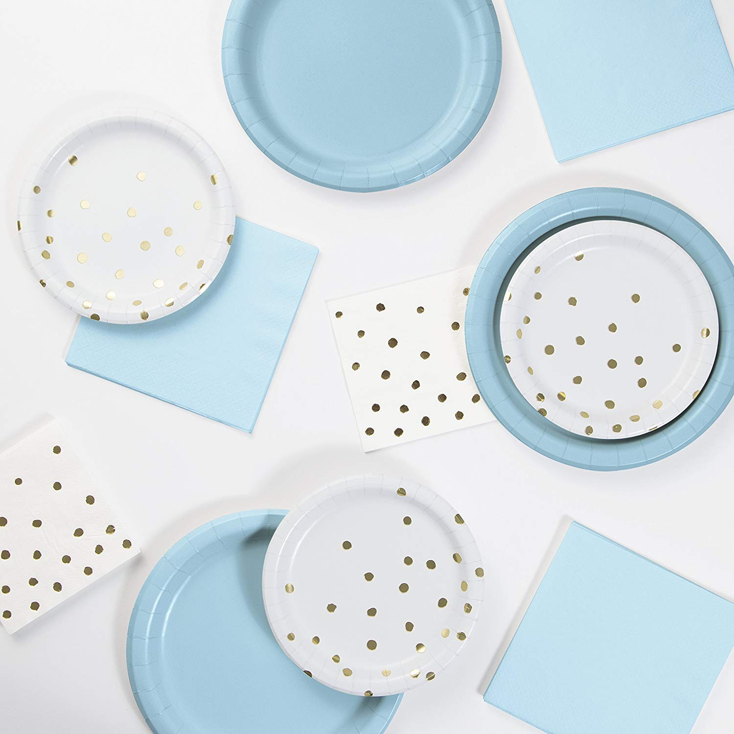 Pastel Blue, White and Gold Foil Party Pack