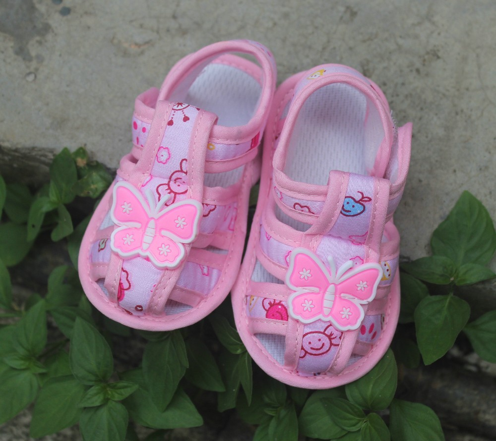 Toddler shoes skid proof Baby shoes Pink butterfly free shipping prewalker