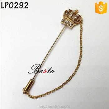 334c8d078bb2 Corona del rhinestone cadena de oro metal lapel PIN para la decoración de  ropa