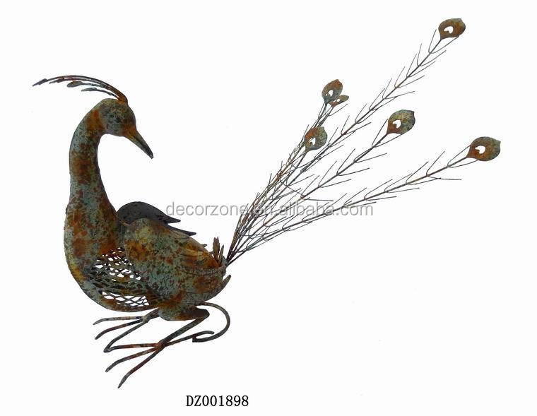 Metal Peacock Statue For Garden Decoration