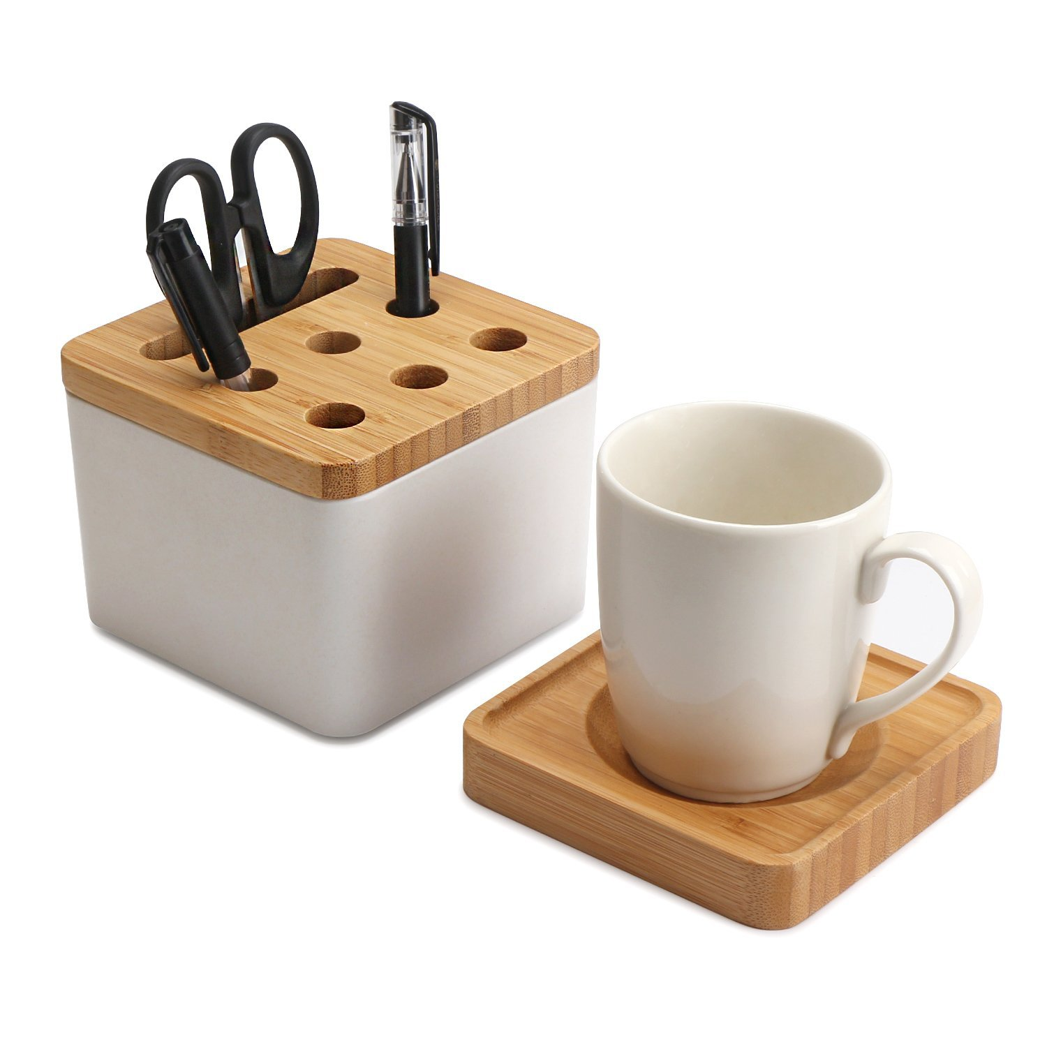 Segarty Pencil Holder, Home Office Multi-purpose Desk Organizer with Bottom Drink Saucer, Desktop Stationery Storage Container, Noble Quality
