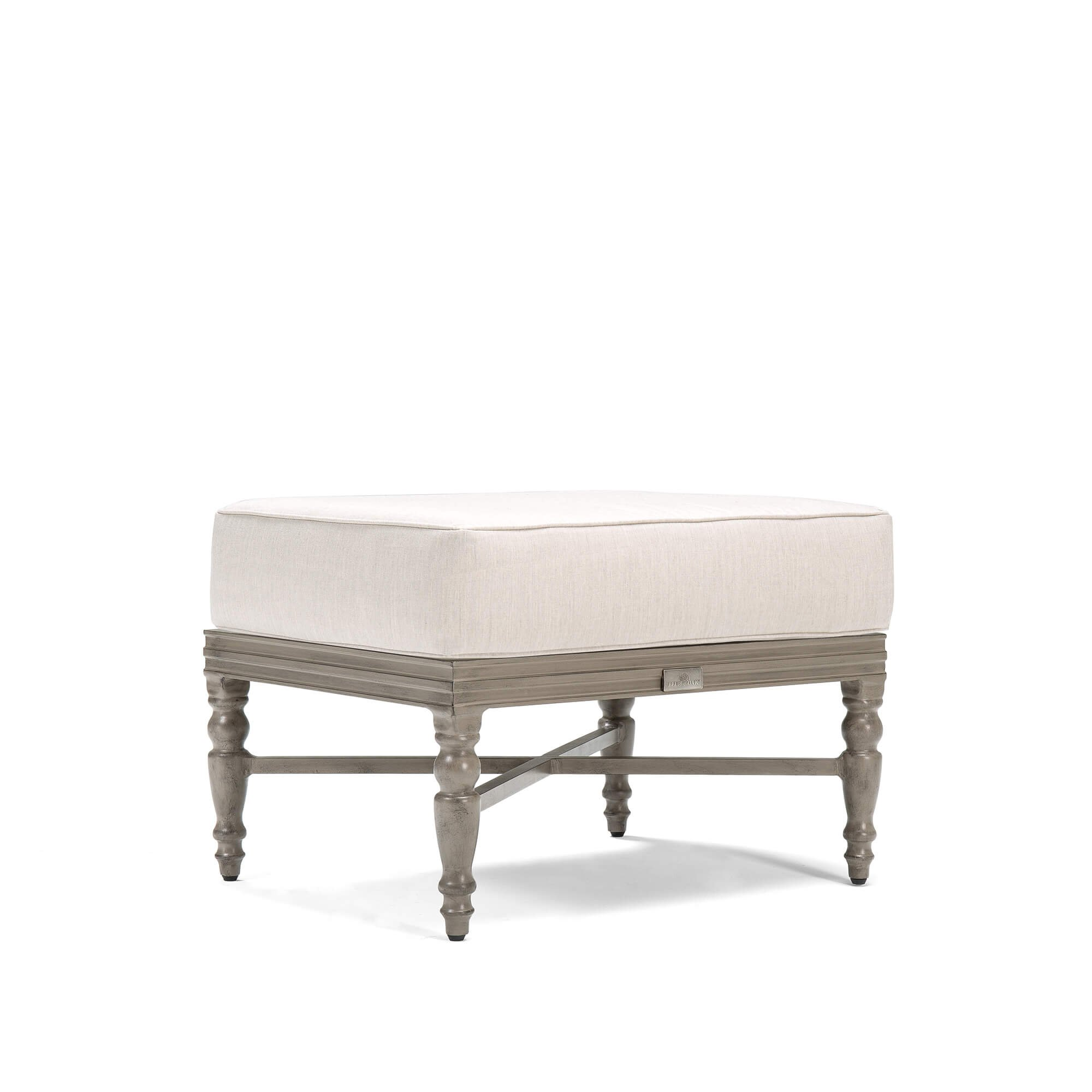 Blue Oak Outdoor Saylor Patio Furniture Ottoman with Outdura Remy Sand Cushion