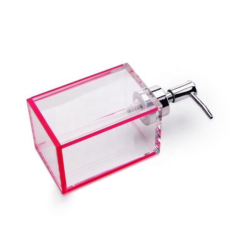 Prezzo di fabbrica Bagno Liquido Acrilico Bottiglia di Dispenser di Sapone A Mano Con Bordo Rosa