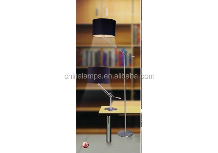 Saso Black Lampshade Swing Arm Standing Light Fluorescent Floor ...