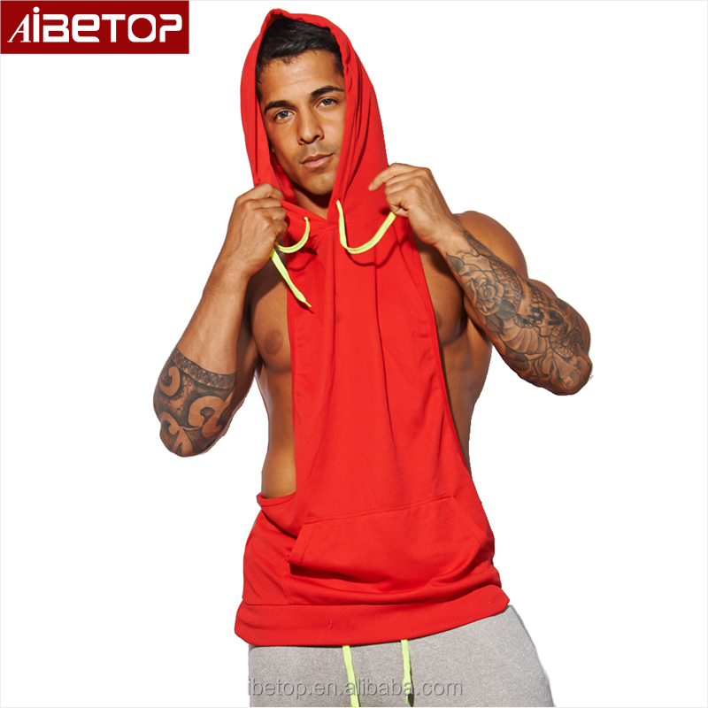 Sexy Muscle Men Bodybuilding Dri Fit Tank Top Red Gym Sports Sleeveless Hoodie