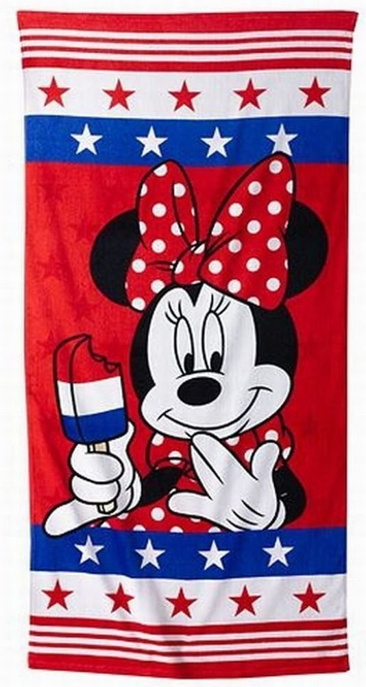 "Disney Minnie Mouse Beach Towel by Jumping Beans 28"" x 58"" Red/White/Blue"