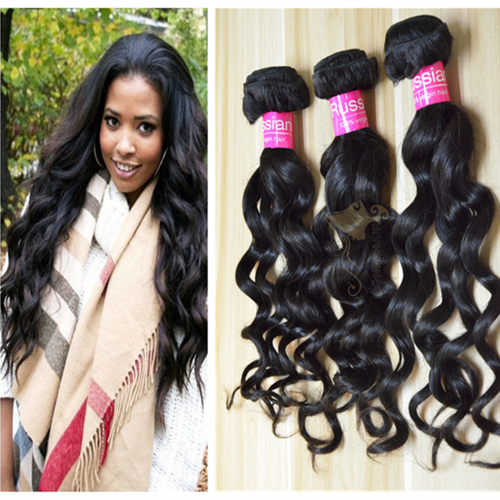 natural black full ends wholesale top quality 10-30inch loose wave russian virgin hair