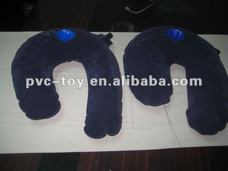 pvc flocked self inflatable side sleeper pillow with ear protection design
