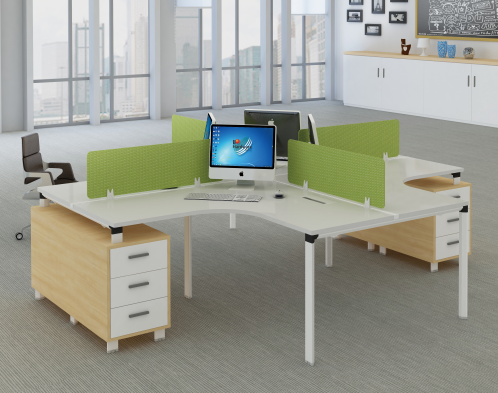 L shape simple style Modern office 4 person workstation furniture