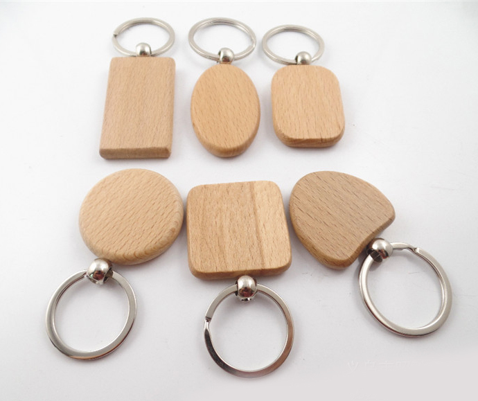MOQ 138PCS Wood Key Chain Key Rings DIY Wood Round Square Heart Oval Rectangle Shape Key Pendant Handmade Keychain Free Shipping