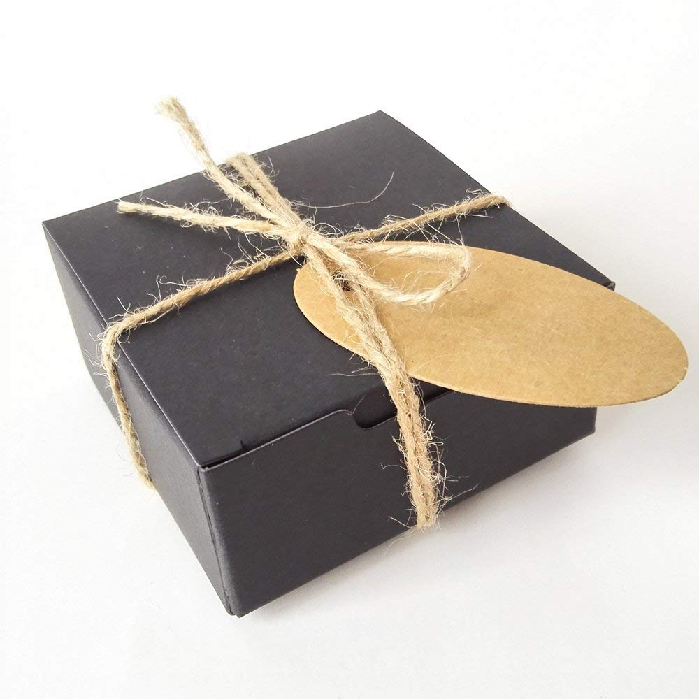 Gold-Furtune 50PCS Square Gift Wrapping Kraft Paper Box With Tags & Hemp Rope Paper Soap Box (Black Box With Brown Hemp Rope)