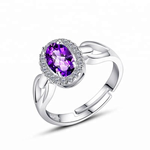 Bijouterie 925 Silver Oval-shape Amethyst Rings Opening Zircon Setting Engagement Bands Ring Fashion Jewelry