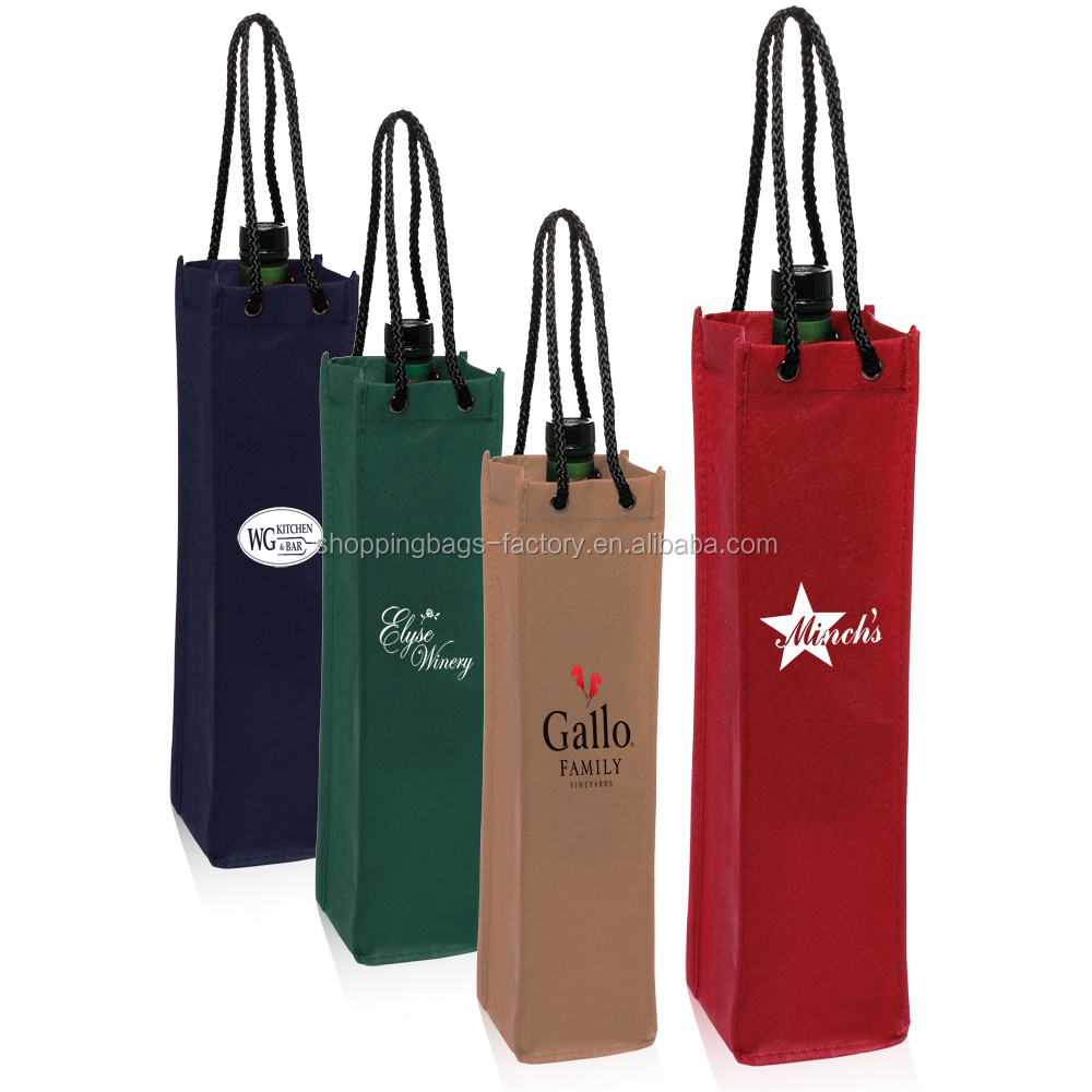 Mini Non-Woven Fabric Single Wine Bottle Tote Carrier Bags