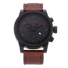 MILER Calendar Vintage Watch Mens Analog Bracelet Leather Strap Watches Top Brand Luxury Relogio Masculino Arabic Numerals ML40