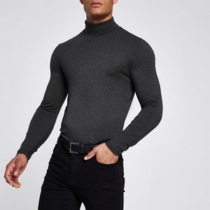 t shirt bangladesh grey muscle fit roll neck T-shirt blank long sleeve slim fit shirt