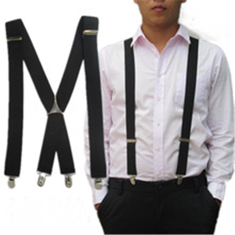 Good Quality 4 Clips Black Belts All-match Women Mens Suspenders X-shape Fashion Braces Adjustable Slim Suspender Unisex Men's Accessories
