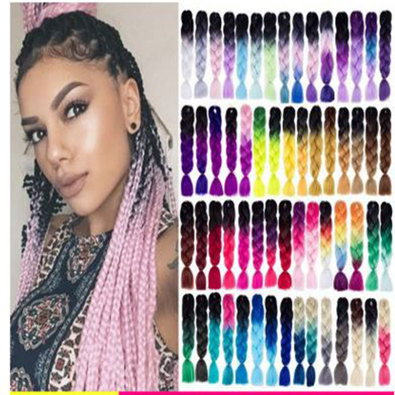 fast shipping hair expression braids synthetic hair 3 tones ombre jumbo braids