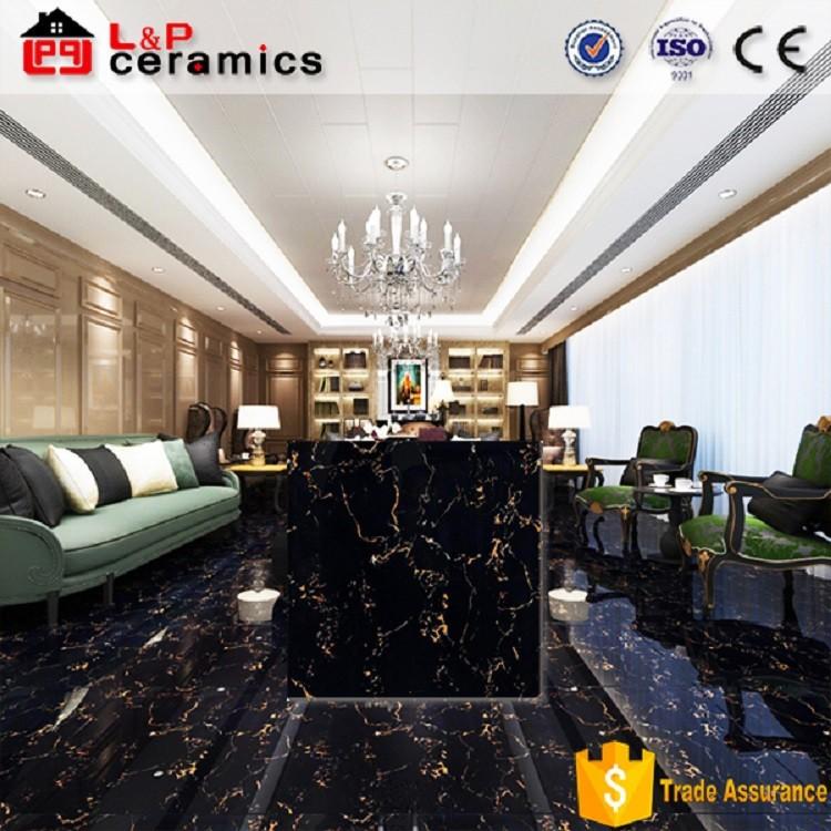 Black Gold Marble Floor Tile