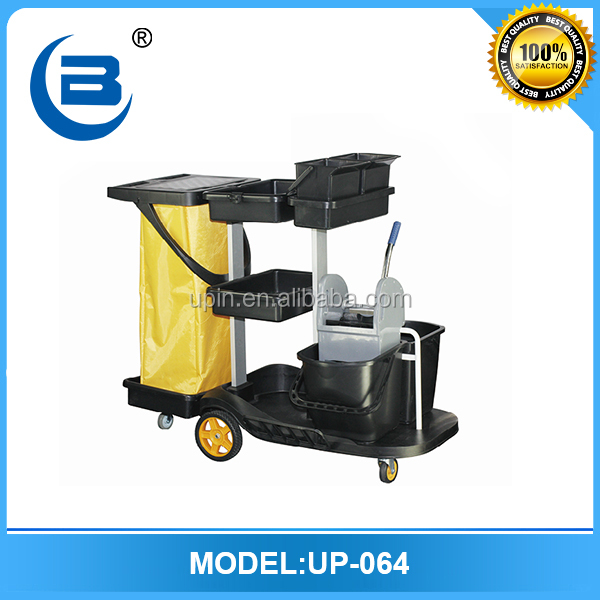 Shenzhen latest design hotel housekeeping maid cart trolley,cleaning trolley cart for sale