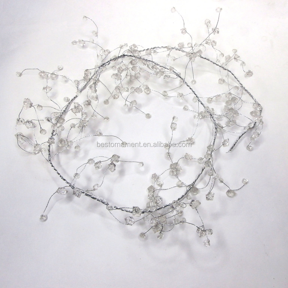 130cm Clear Beaded Garlands Wire String Wedding Party Decoration