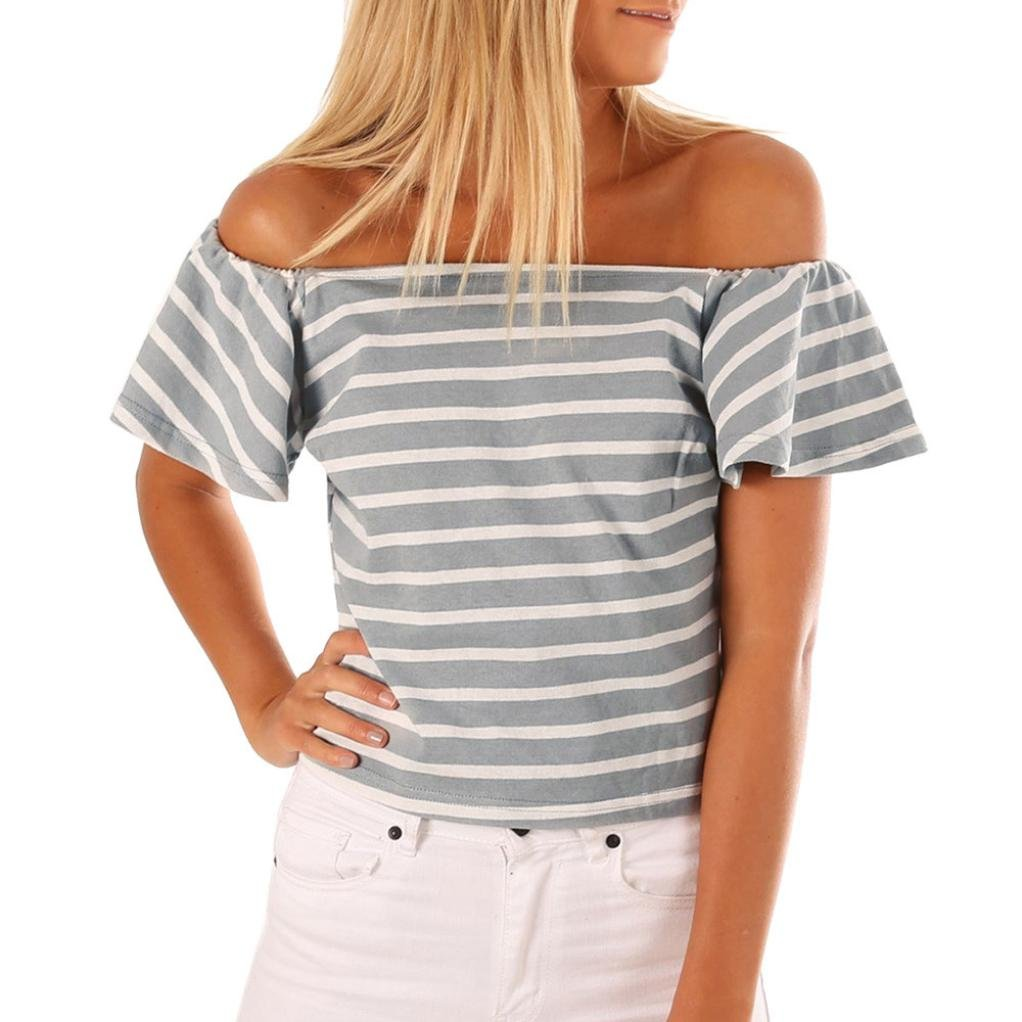 Howstar Women's Sexy Off Shoulder Ruffle Shirts Casual Striped T Shirt Ladies Blouse Tops