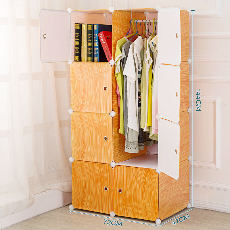 portable wood grain diy plastic foldable wardrobe
