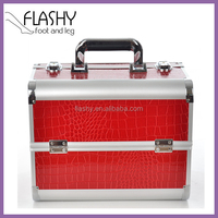 New Professional Lockable Handle Aluminum Cosmetic Portable Makeup Case Jewellery beauty case Cosmetic case