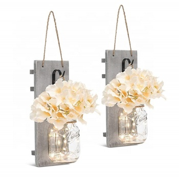 Decorative Wall Decor - Rustic Hanging Mason Jar Sconces with LED Fairy Lights and Flowers - Farmhouse Home Decor Set Of 2