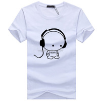 men latest cute cartoon &music print short-sleeved t-shirt fashion casual shirt Slim round neck tee jersey