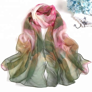 Best-seller Women Lotus Leaf Printing Long Shawl Floral Beach Soft Thin Lady Georgette Scarf