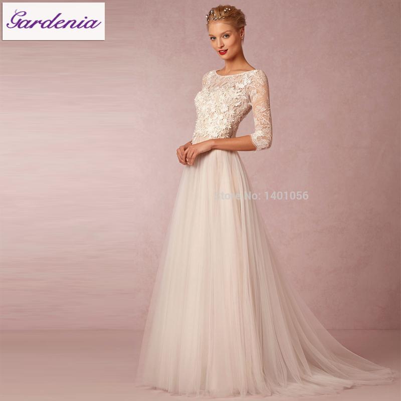 robe de mariage 2015 vintage bohemian charm long sleeve beach wedding dress flowing chiffon. Black Bedroom Furniture Sets. Home Design Ideas