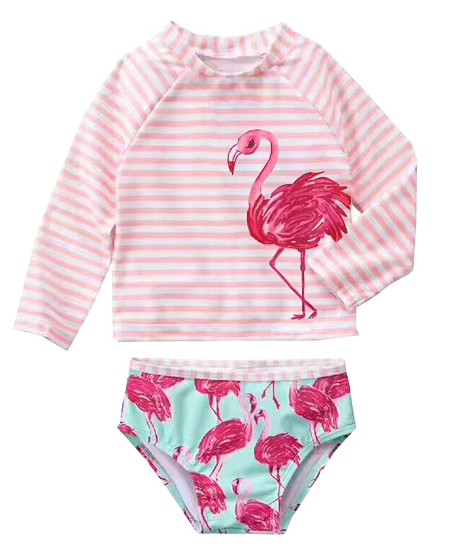 536b8f1a6aadf Get Quotations · Infant Baby Girls Flamingo Rash Guard Sets Girl Stripe  Swimwear Long Sleeve Swimsuit UPF50+