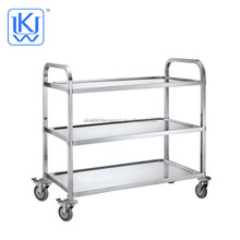 UKW Kitehenwares Stainless Steel Three-layers Restaurant Kitchen Cleaning Service Dinning Cart