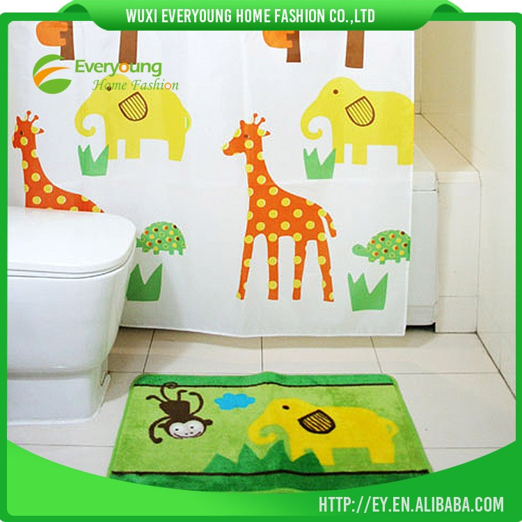 Children Like Cartoon Zoo Kids Shower Curtain and Bath Rug Sets
