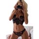 New European and American Sexy Lingerie Lace Sexy Women's Bikini Perspective Three-point Temptation Suit