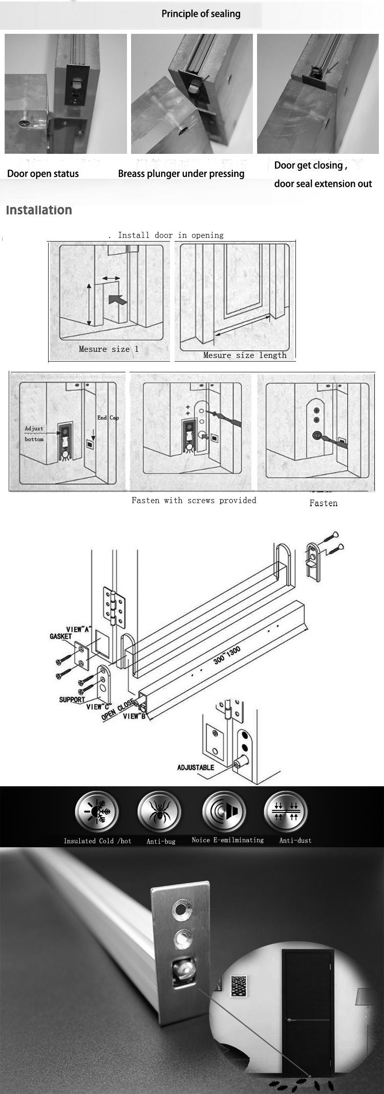 Mortised concealed fix threshold aluminium threshold automatic door bottom seal