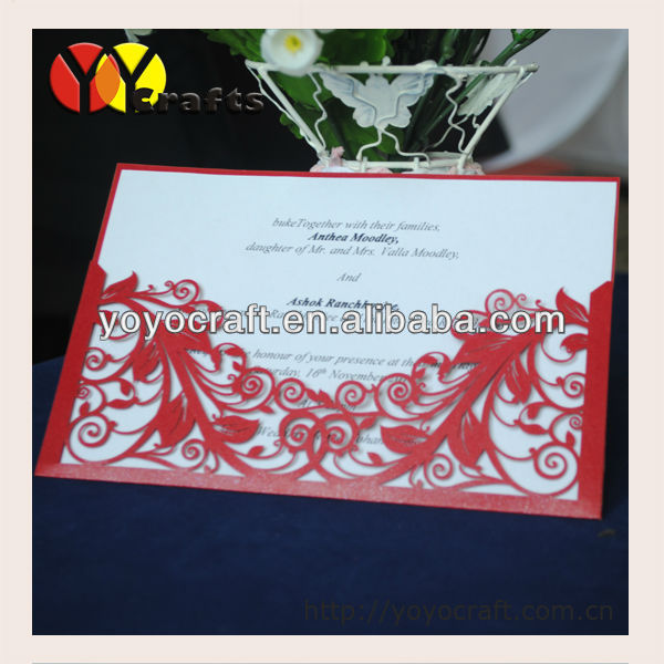 hot sale wedding supplies paper laser cutting wedding invitation cards INC014 with envelope and insert