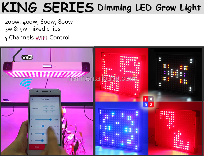 200w 4002w 600w 800w Programmable & Dimmable LED Grow Lights with LCD Display Screen by Remote Control or APP Control