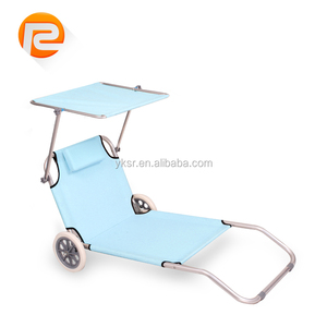 OUTDOOR FOLDING BEACH LOUNGER WITH SUN SHADE / WHEEL / PILLOW