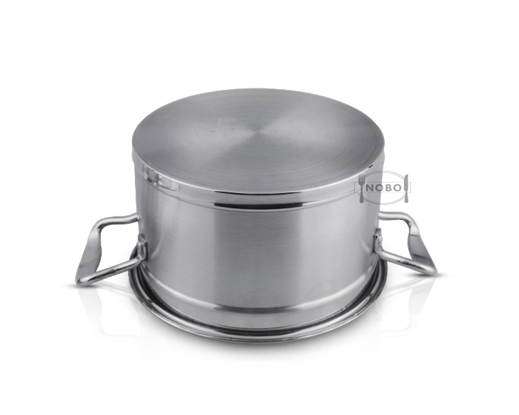 Double bottom right angle soup pot stainless steel with two handles
