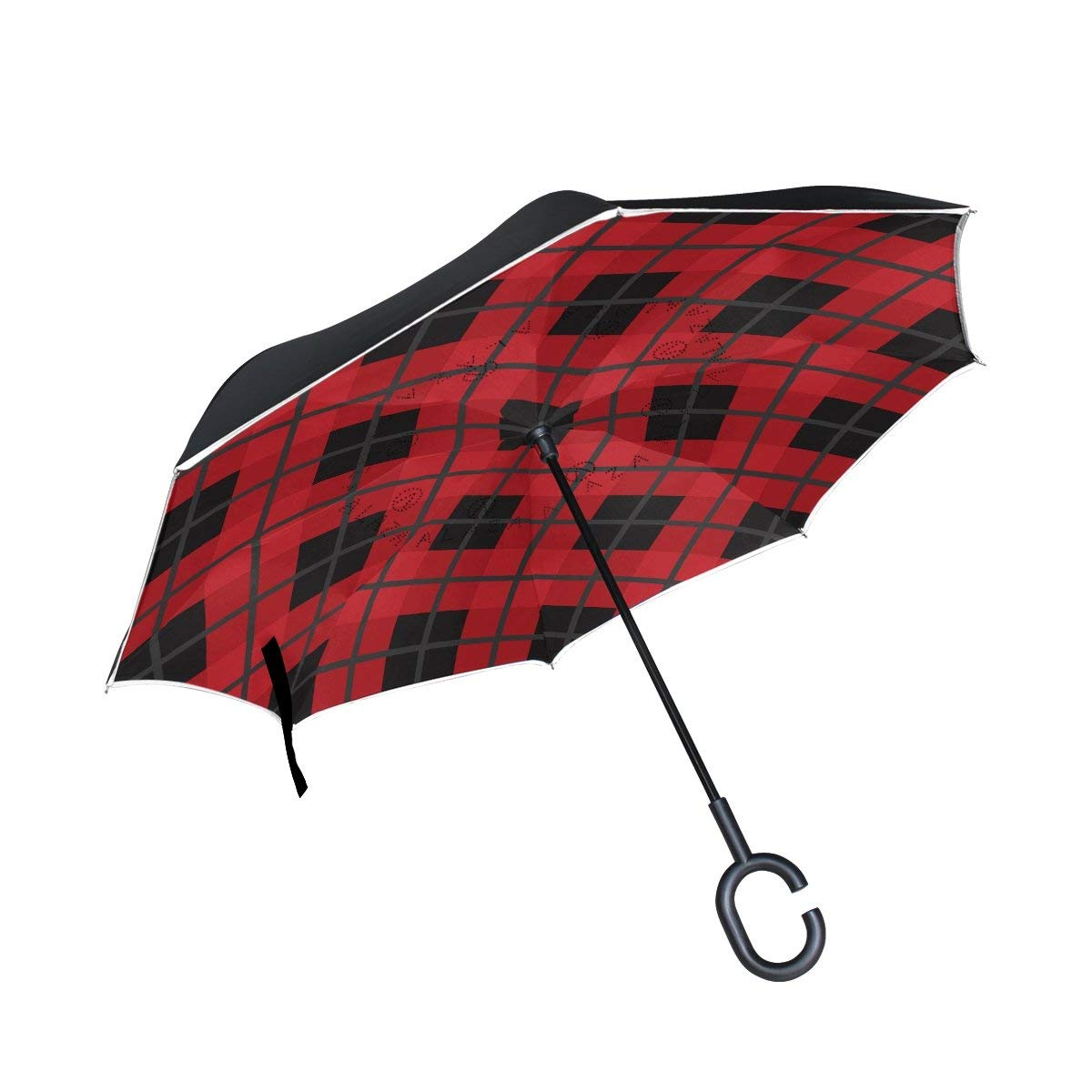 FOLPPLY Inverted Umbrella The Geometric Print,Double Layer Reverse Umbrella Waterproof for Car Rain Outdoor with C-Shaped Handle