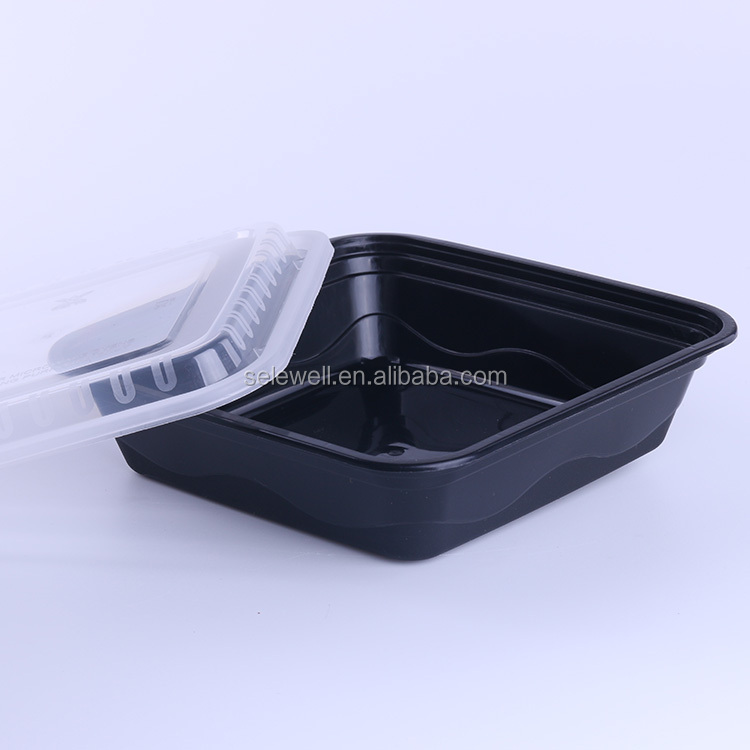 Magnetron vierkante fastfood takeaway wegwerp plastic voedsel container