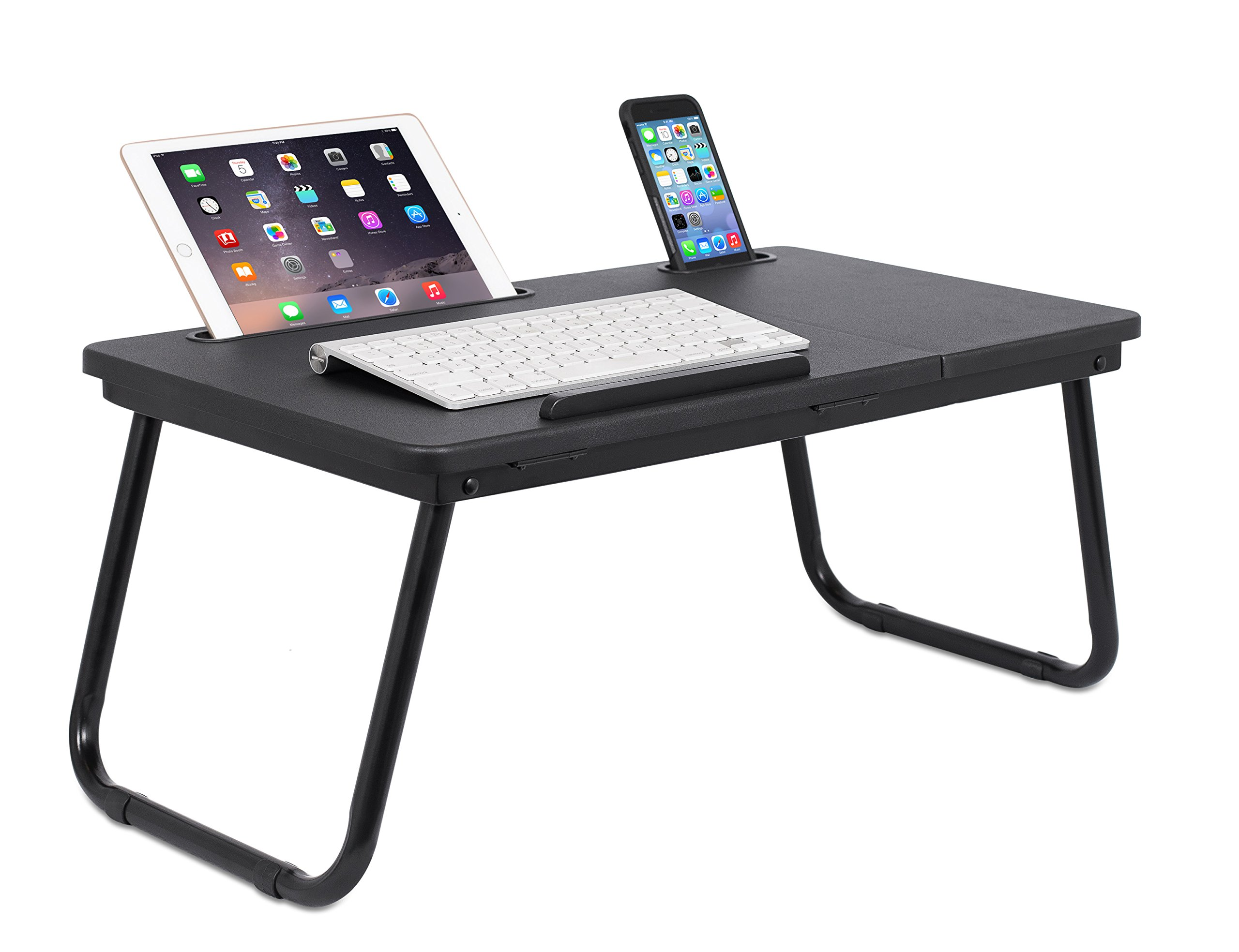 Sofia + Sam Lap Tray with Tablet & Phone Slots | Metal Folding Legs | Lap Desk with Tilting Top | Laptop Stand | Breakfast Serving Bed Tray | Black