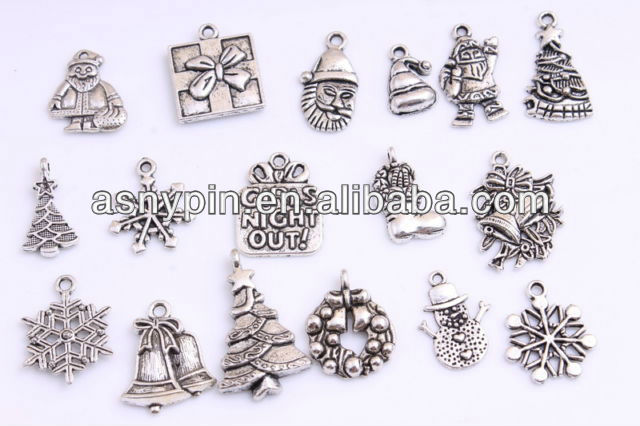 Christmas theme gifts antique pewter 3D metal tags pendant charms