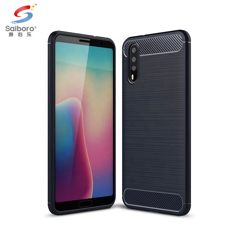 Saiboro Factory Price Shockproof Brush Tpu Carbon Soft Phone Back Cover For Huawei P20 Slim Phone Case фото