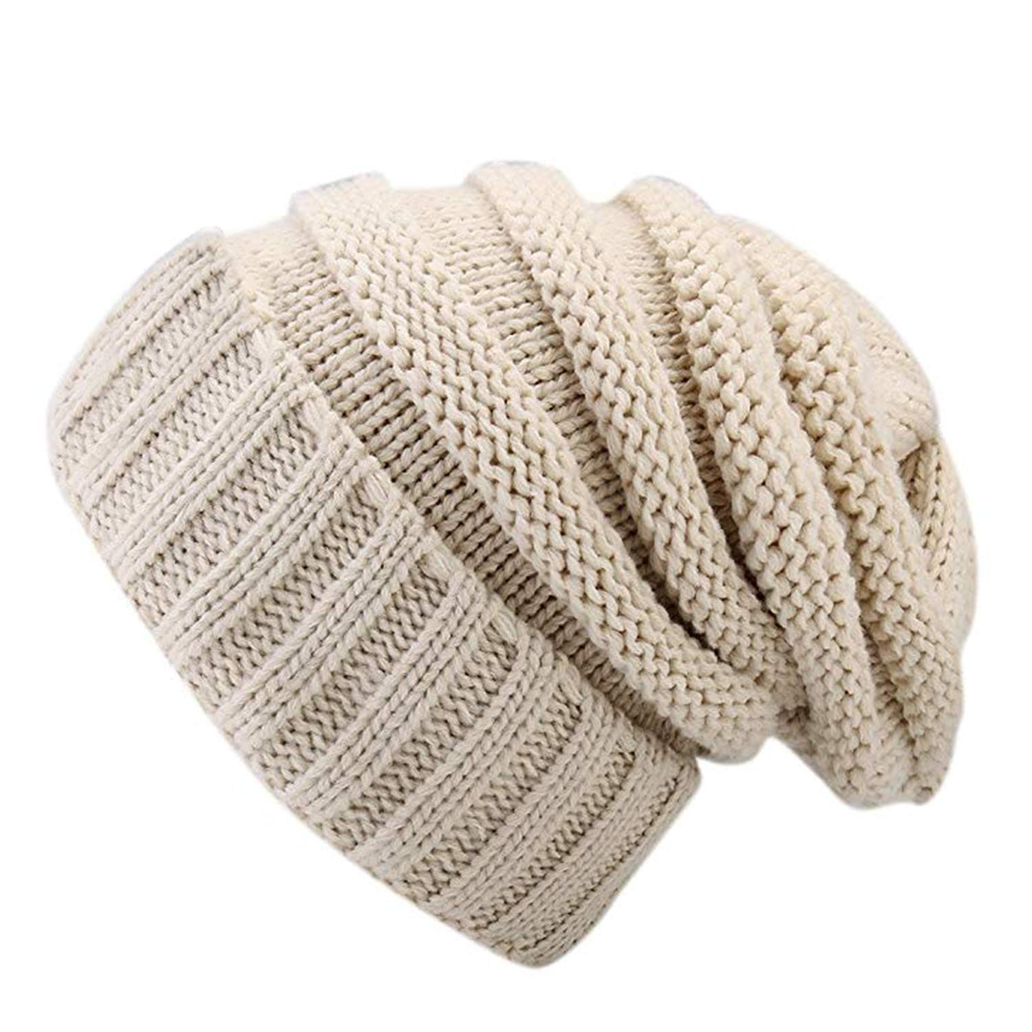 GAIBEST Stretch Cable Knit Beanie Tail - Thick Soft Warm for Women Men Chunky Hat Bobble Hat Ski Cap