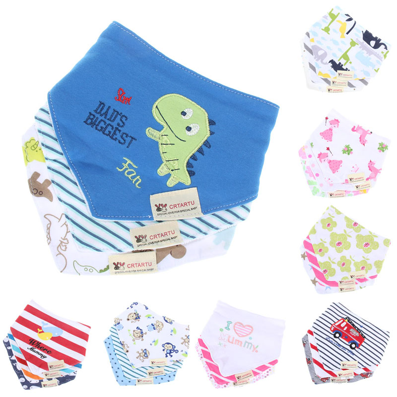 Hot Selling1set 3pcs Bibs Bandana Cotton Bandana Kids Animal Baby Infant Saliva Towel LD789